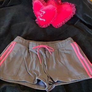 adidas💕gray shorts w/hot pink stripes, logo back